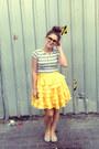 Silver-striped-tee-mink-pink-t-shirt-yellow-little-gracie-skirt-silver-flats