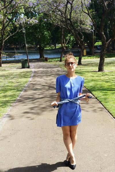 blue silk op shopped dress - navy paisley Tale of a Tall Fellow shirt