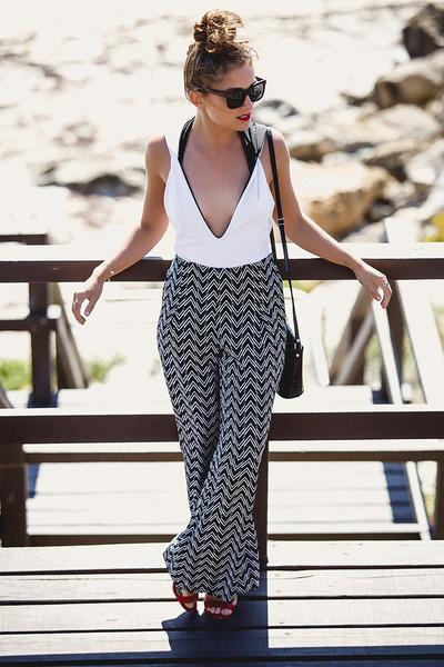 white Mer Ka Ba swimwear - black Le specs sunglasses - red betts heels