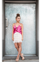cream lace laundry room skirt - hot pink silk cami vintage top