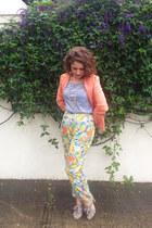 coral Op-shopped blazer - heather gray Op-shopped heels - light yellow pants