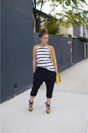 navy drop crotch Nude Lucy pants - yellow tooled leather asos bag