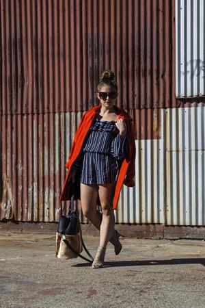red asos coat - navy off shoulder Shakuhachi romper - beige caged betts heels