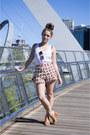 Maroon-asos-shorts-ivory-dotti-top-tawny-misano-heels