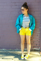 yellow vintage shorts - turquoise blue sports jacket vintage jacket
