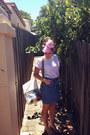 Blue-op-shop-skirt-pink-head-scarf-op-shop-scarf-white-asos-bag