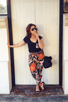 black Colette bag - black ombre Rummage sunglasses - orange pants