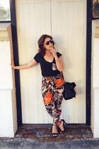 black Colette bag - black ombre Rummage sunglasses - orange pants