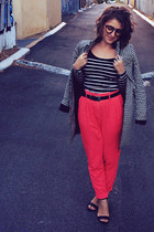 black Cue coat - coral high waisted Forever 21 pants - black asos top
