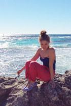blue 50s swimsuit vintage swimwear - hot pink vintage pants