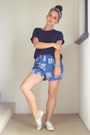Blue-vintage-shorts-navy-cotton-on-t-shirt