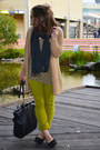 Chartreuse-jeans-mustard-top-camel-cardigan
