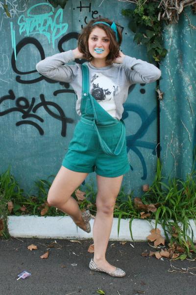 teal overalls vintage romper - heather gray pug print asos jumper - silver flats