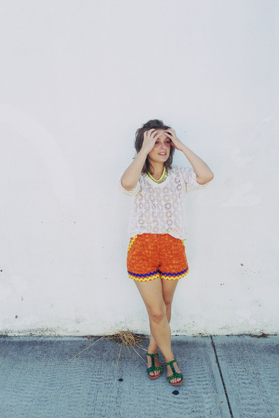 yellow Colette necklace - carrot orange zig zag trimmed shorts
