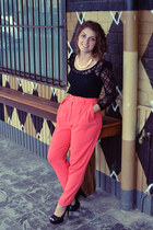 black op-shop top - hot pink high waisted Forever 21 pants