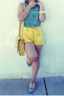 Yellow-vintage-shorts-yellow-tooled-leather-asos-bag-aquamarine-top