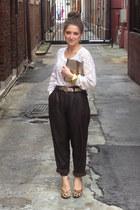 ivory crochet Arabella Ramsay jumper - dark brown leather op shopped pants