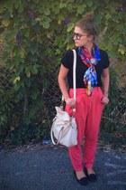 cream bowler bag Kardashian Kollection bag - navy scarf - coral Forever 21 pants