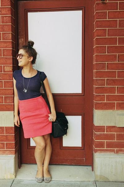 Zara skirt - Colette bag - flats - vintage t-shirt