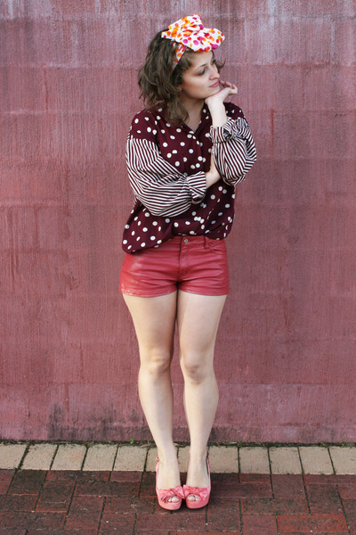 maroon Op-shopped blouse - coral H&M shorts - bubble gum Op-shopped heels