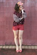 maroon Op-shopped blouse - coral H&M shorts - bubble gum Op-shopped heels