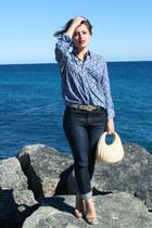 blue paisley print Tale of a Tall Fellow shirt - navy Op-shopped jeans