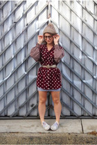 brick red op shopped blouse - silver asos skirt