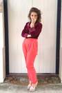 Maroon-velvet-op-shopped-blouse-hot-pink-forever-21-pants