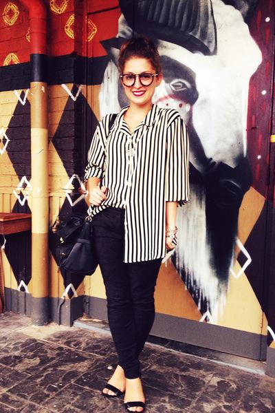 black Colette bag - black Sportsgirl pants - cream vintage blouse