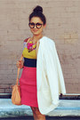Hot-pink-zara-skirt-white-viscose-crepe-msgm-blazer