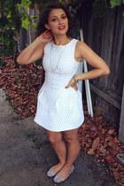 white dress - silver flats