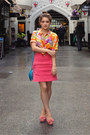 Blue-fashion-addict-bag-hot-pink-neoprene-pencil-topshop-skirt