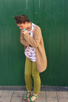chartreuse American Apparel jeans - camel Country Road cardigan
