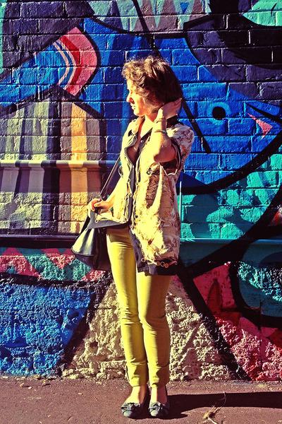 black Colette bag - chartreuse jeans American Apparel pants