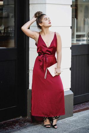 maroon satin maxi Asha dress