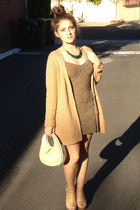 army green vintage dress - camel long line knit country rd cardigan