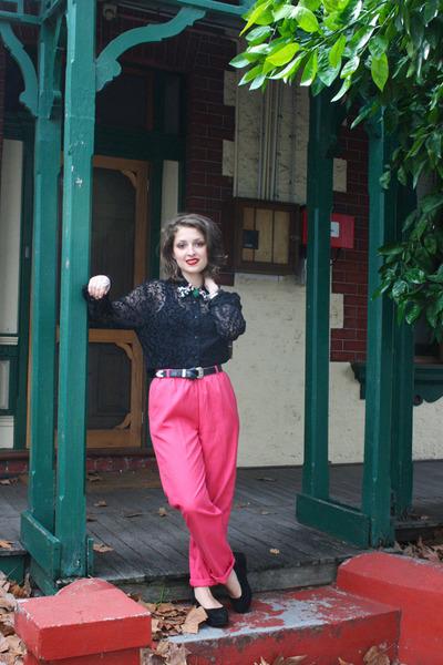 black Op-shopped blouse - hot pink Op-shopped pants