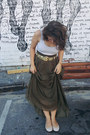 White-top-olive-green-maxi-skirt-gold-jewelled-belt