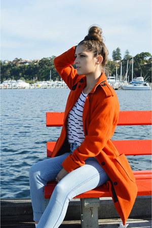 burnt orange asos coat - light blue high waisted Lee jeans