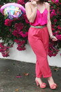 Hot-pink-silk-camisole-op-shopped-blouse-coral-op-shopped-pants