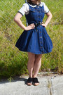 Denim-button-up-op-shopped-dress-valleygirl-hat-primark-blouse