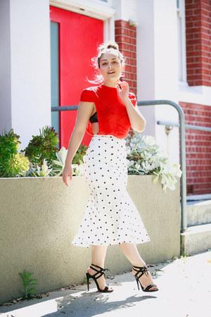 white mermaid skirt Asilio skirt - red silk Zhivago top