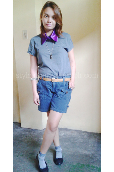 navy Freeway shorts - charcoal gray Topshop shirt - black Milano flats