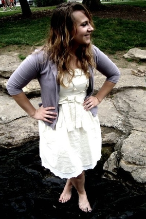 white Gap dress - necklace - purple Gap cardigan
