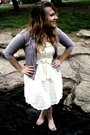 White-gap-dress-necklace-purple-gap-cardigan
