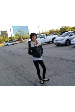 H&M jacket - drape wilfred sweater - winter American Apparel leggings - suede ba