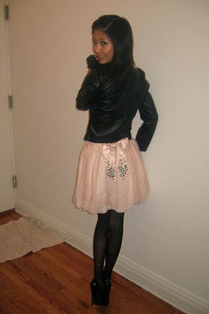 Forever 21 gloves - H&M jacket - American Apparel tights - victorias secret pink