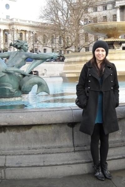 Delias coat - Topshop dress - pants - Office boots - purse