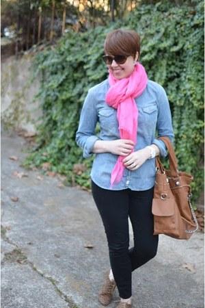 Zara shirt - JCrew scarf - leopard oxfords Forever 21 flats