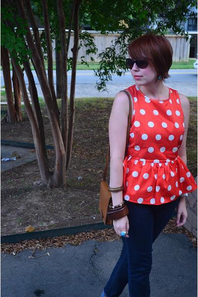 carrot orange asos top - skinny Gap jeans - Zara bag